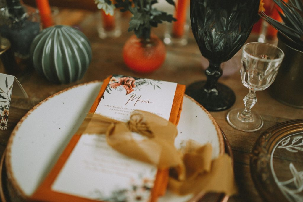 Details of the wedding table with the menu