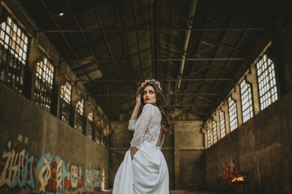 Bride in an abandoned fabric